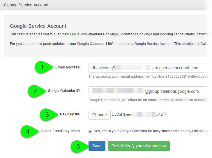Example of connecting a Google Service Account