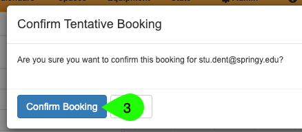 step 2 of confirming a tentative booking from the availability table