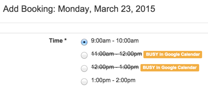screenshot of times not available in My Scheduler admin side due to existing meetings in Google Calendar