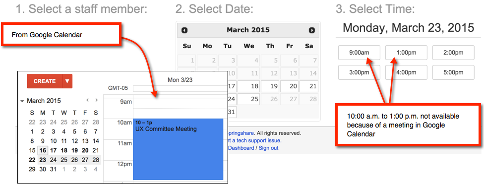 Screenshot of a meeting in google calendar where the corresponding time is not available for booking from the public side of LibCal