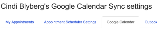 screenshot of Location of google calendar sync settings in My Scheduler