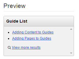 Preview of bulleted list of guides, with frame