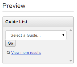 Preview of drop-down menu list of guides, with frame