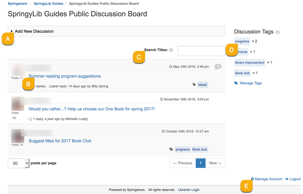 using the public system discussion board