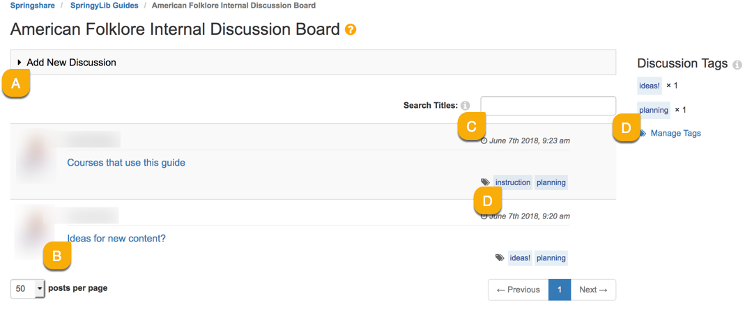 Internal discussion board overview