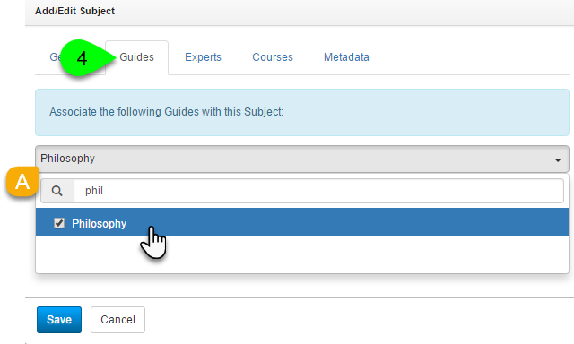 Example of assigning a guide to a subject