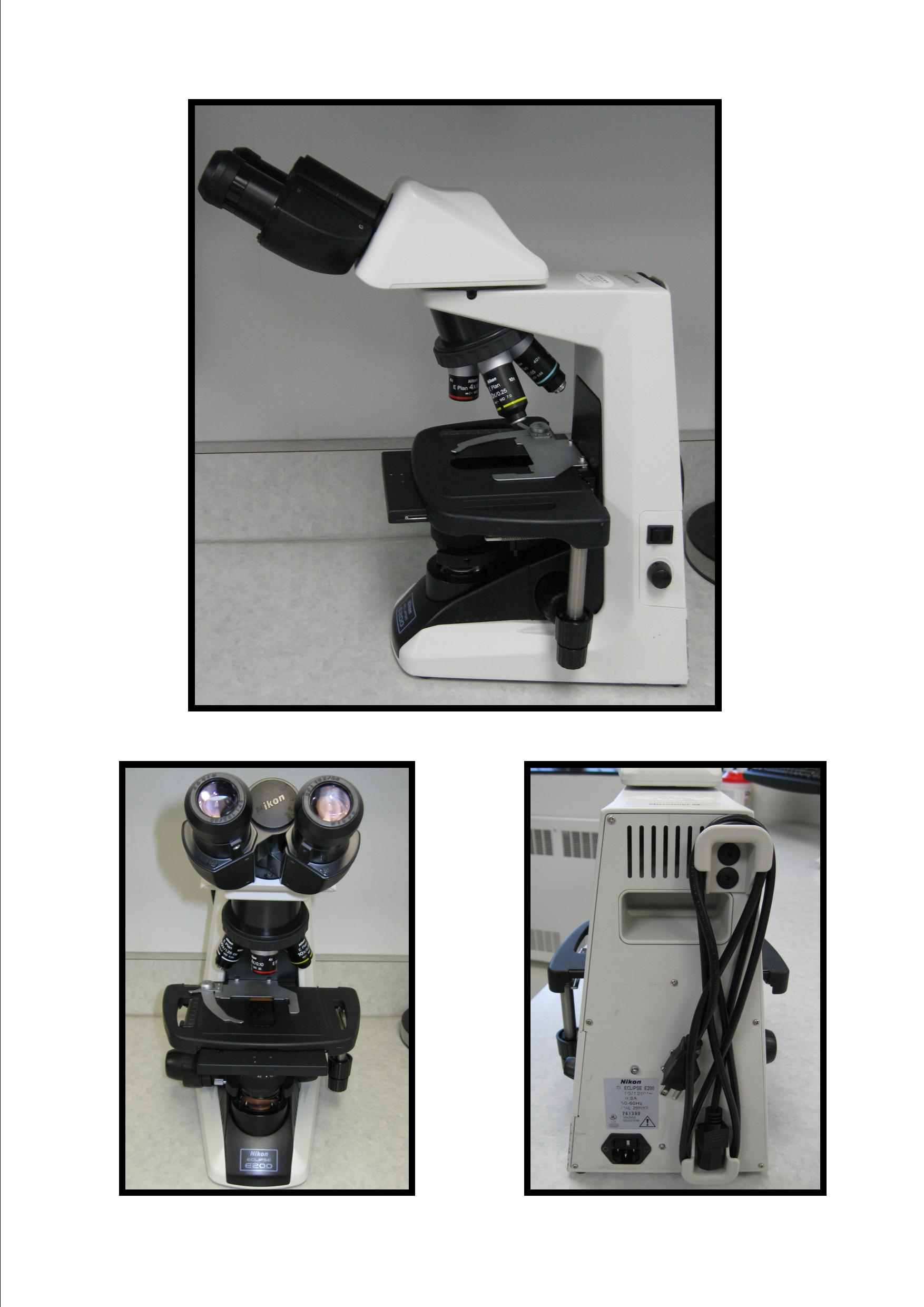 Nikon Microscope Eclipse E200 shown from three angles including the eye pieces, the back with the cord, and the entire microscope from the side.