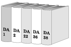 An illustration of five books standing in a line. The spines read, in order, DA 1, DA 2, DA 22, DA 36, and DA 38.