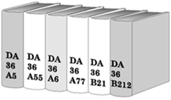 An illustration showing six books standing in a line. The spines read, in order, DA 36 A5, DA 36 A55, DA 36 A6, DA 36 B21, DA 36 B212.