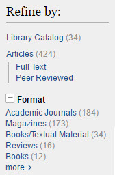 "A screenshot of the ""Refine by"" options in the library catalog, located in the left-hand menu."