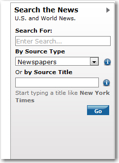 Box for searching source type and title of newspapers