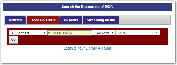 catalog search-women's rights
