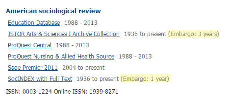 Databases you can use to access the journal American Sociological Review; two databases have embargoes (highlighted in yellow)