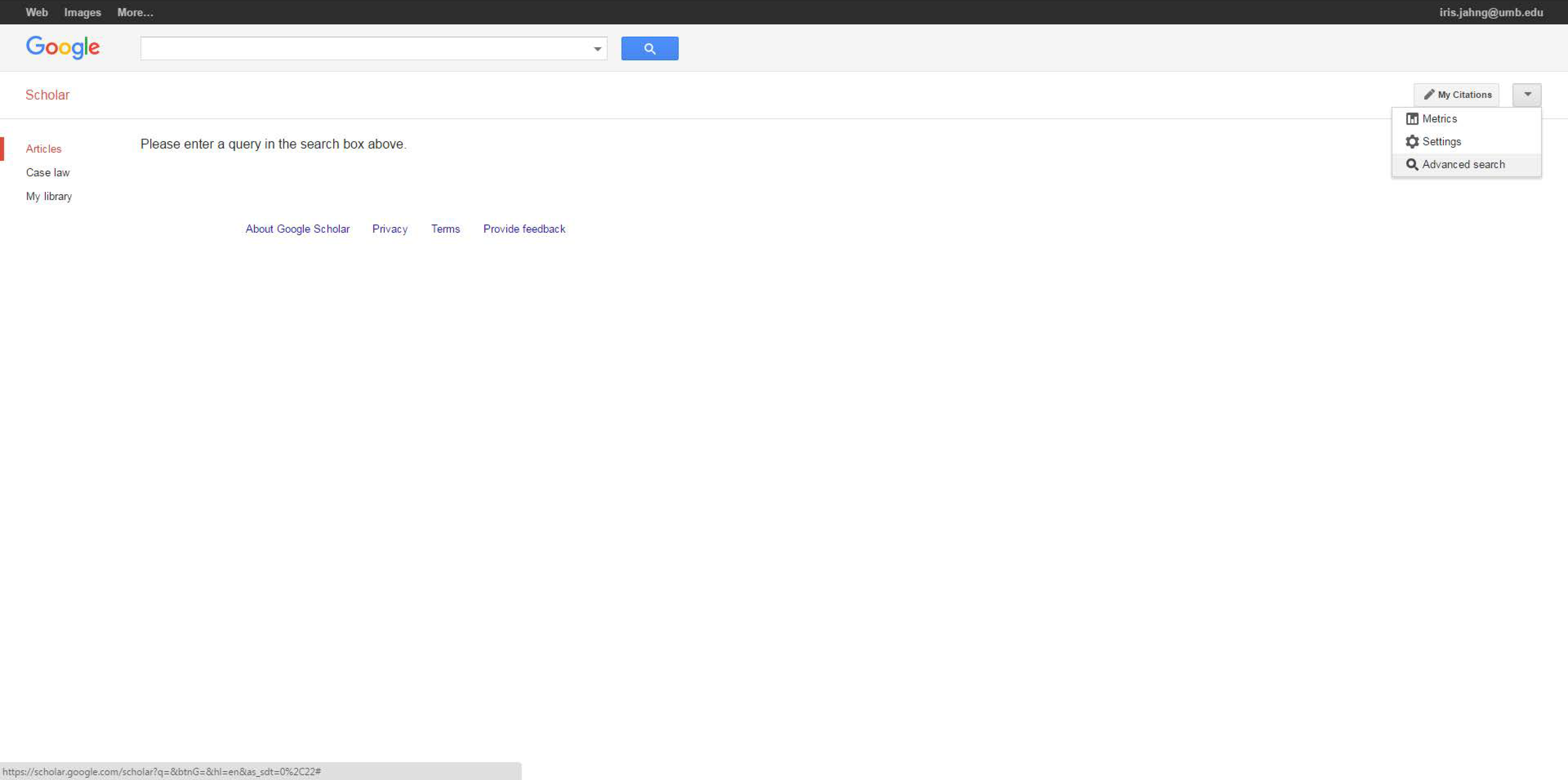 Navigate to Google Scholar's Advanced Search by clicking on the downward-pointing arrow to the right of your screen