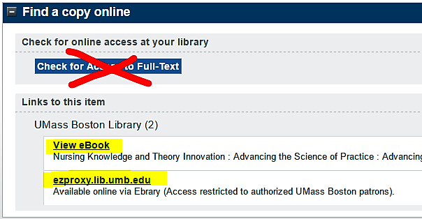 Ebook links in WorldCat