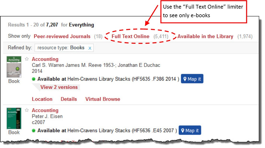 image showing e-book limiter button on catalog page