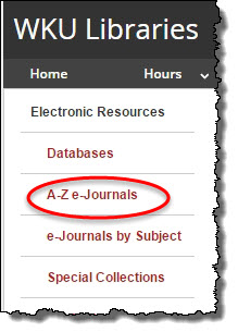 showing link to A-Z e-journal system on the library home page
