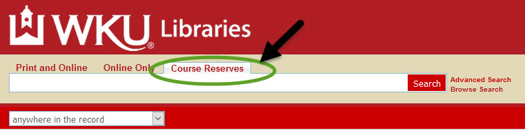 course reserve tab on One-Search catalog