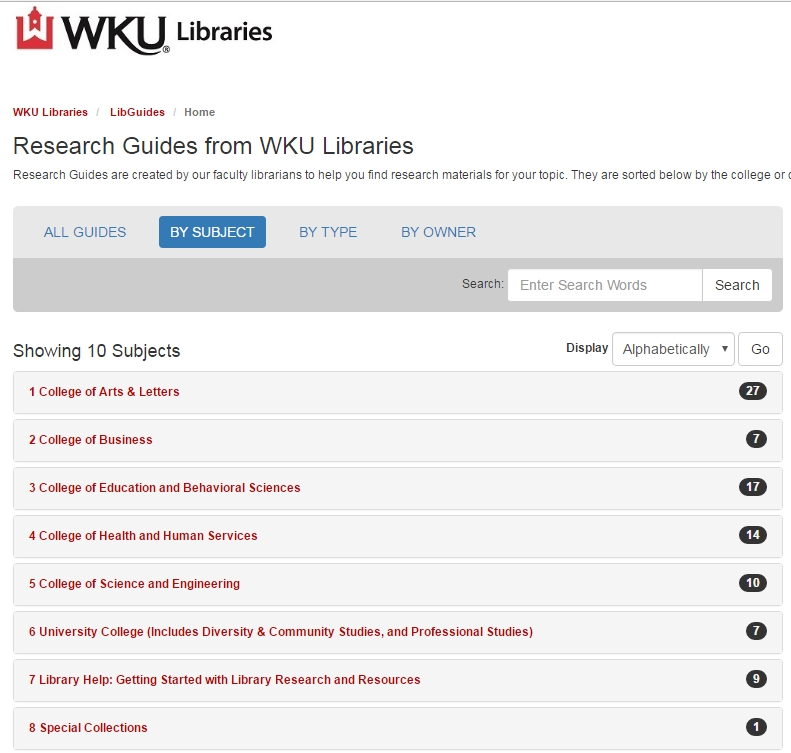 Library research guides landing page