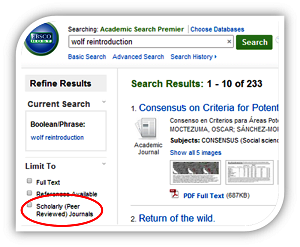 EBSCO filter scholarly journals