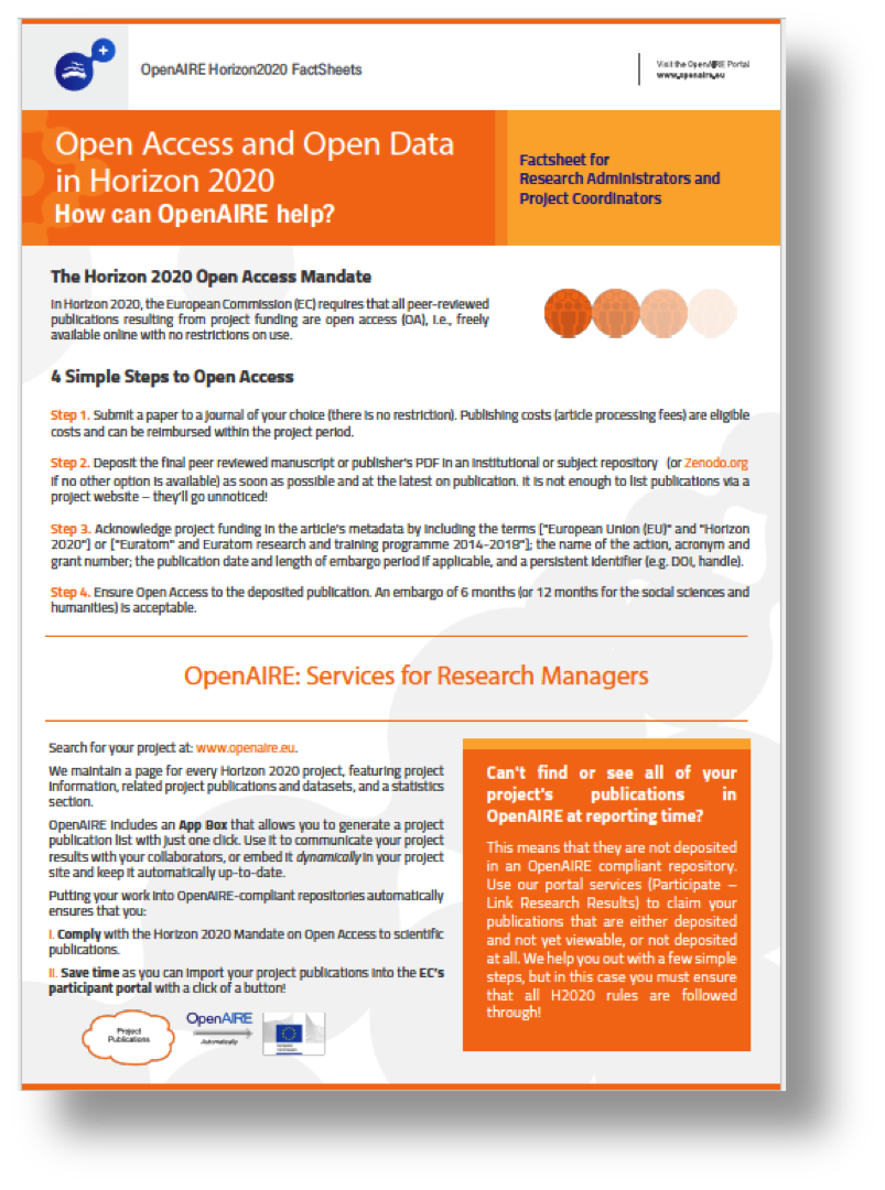 OpenAIRE Factsheet for Research Administrators