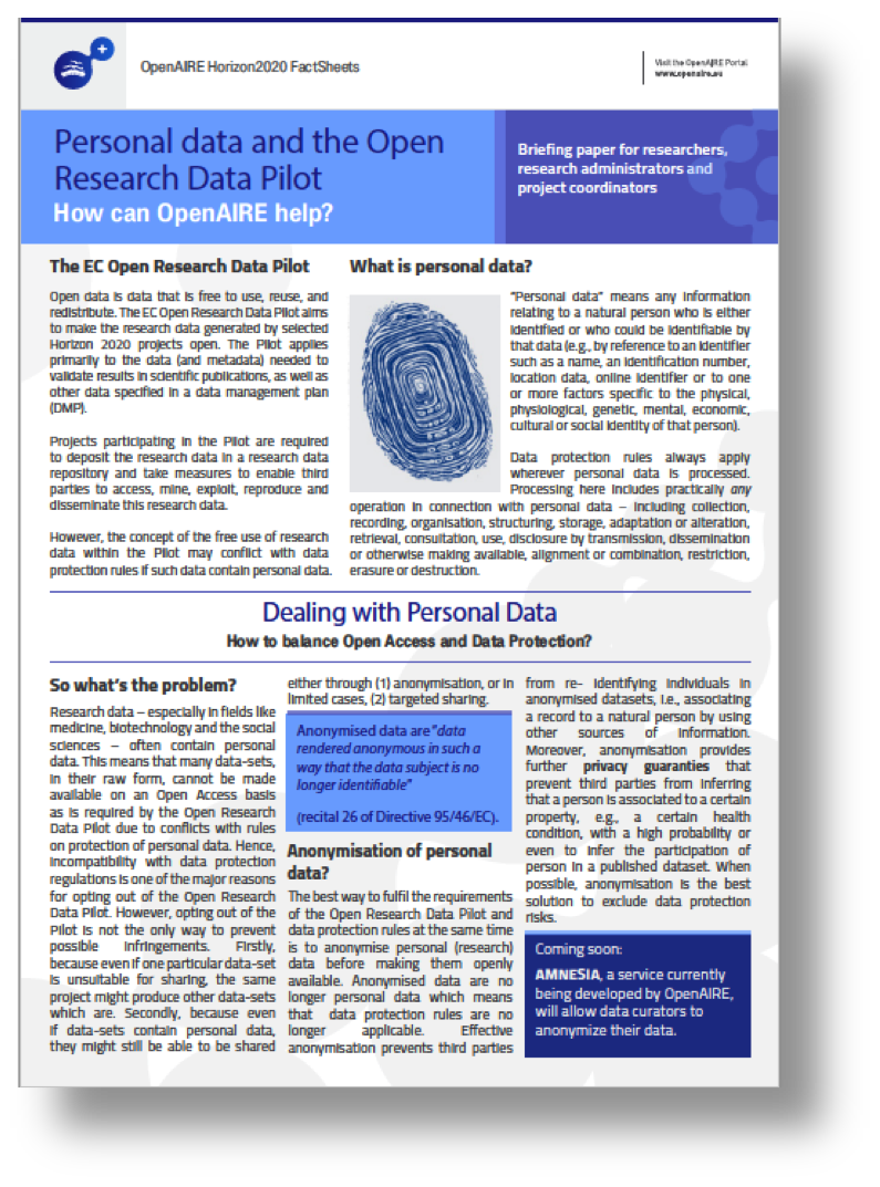 OpenAIRE Personal Data and Open Research Data Pilot Factsheet