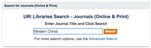 Image of the Journals (Online & Print) Search screen