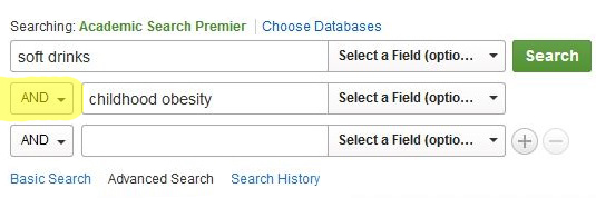 picture of a search using AND in a database