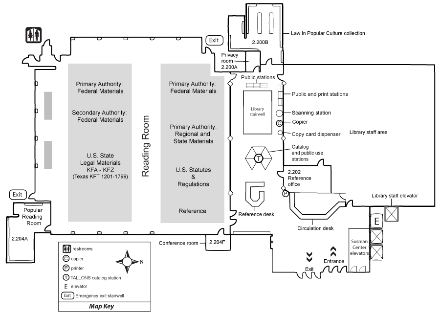 Floor plan of second floor of the library.