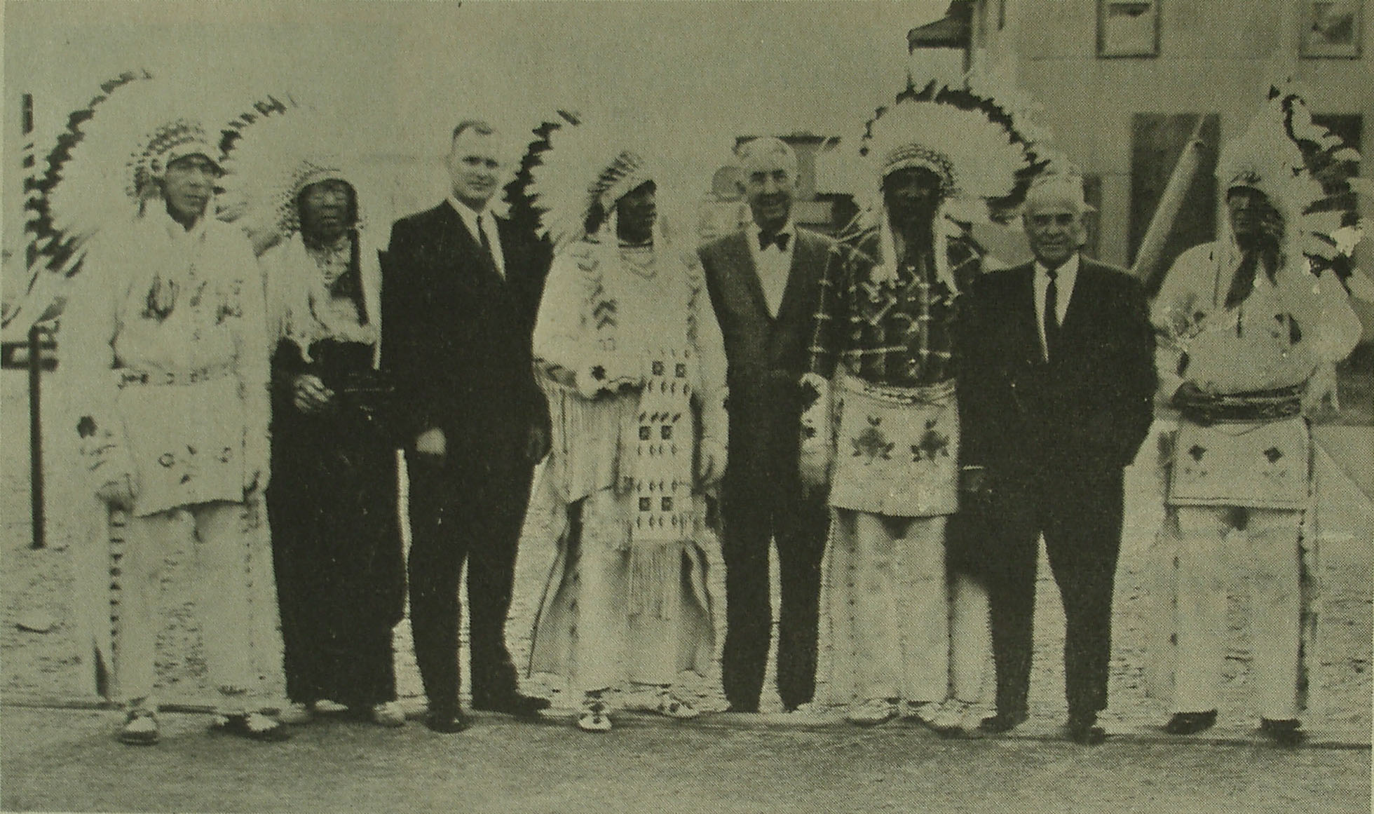photograph of Justice Clark with members of the Blackfeet tribe in Montana, 1963