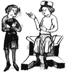 Illustration of two men talking from Sachsenspiegel