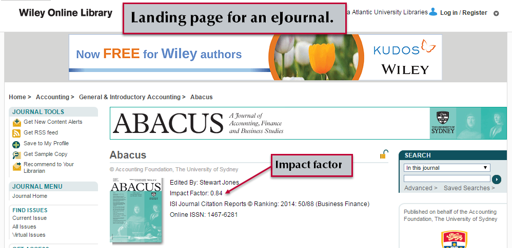 See the impact factor on a journal's landing page.
