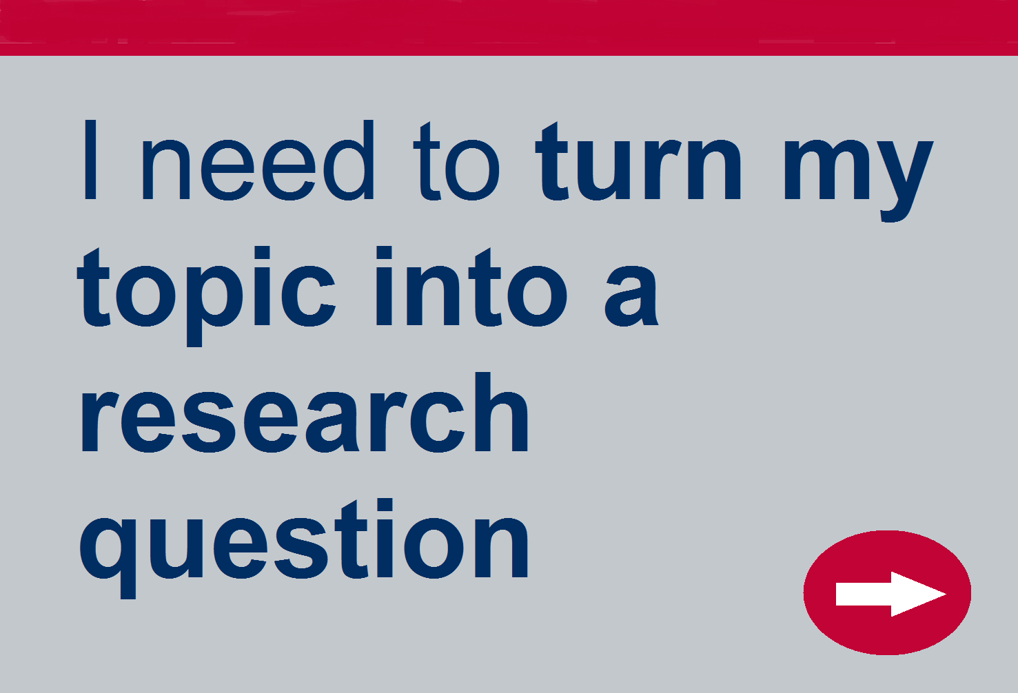 Turn my topic into a research question