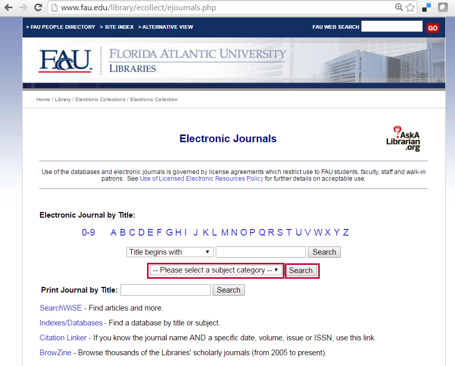 Search for electronic journals.