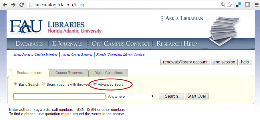 Select Advanced Search for more options and limiters when using the library catalog.
