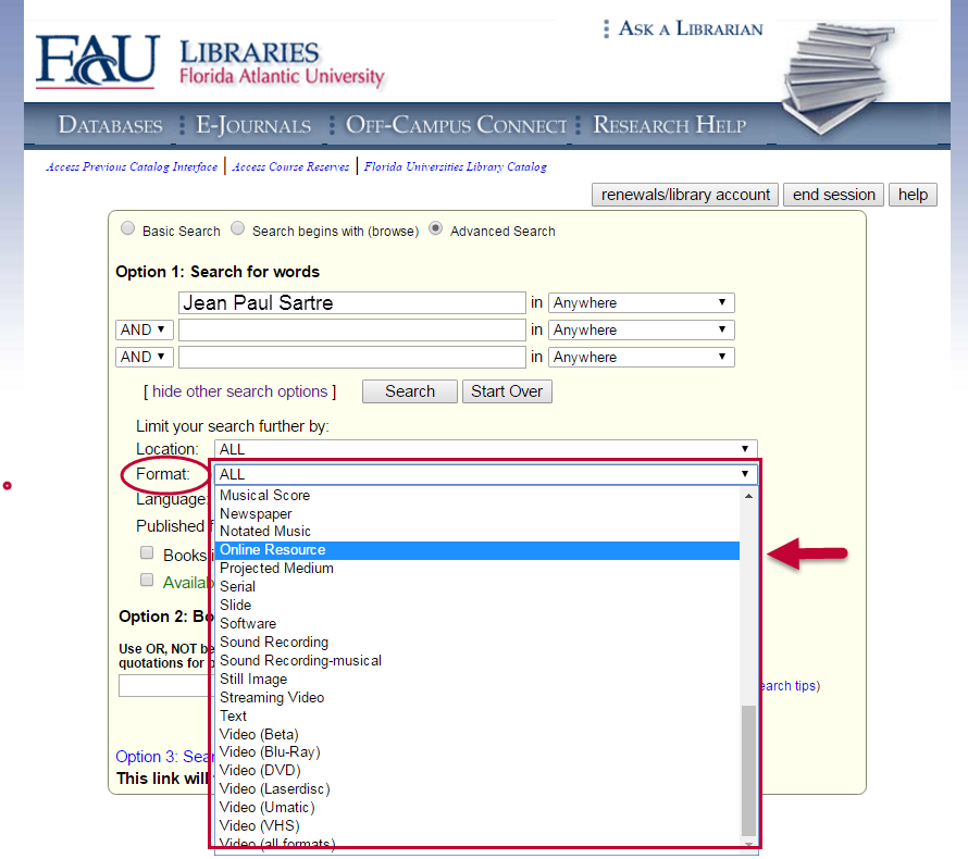 "Go to ""Format"" and select ""Online Resource"" to find eBooks in the catalog."