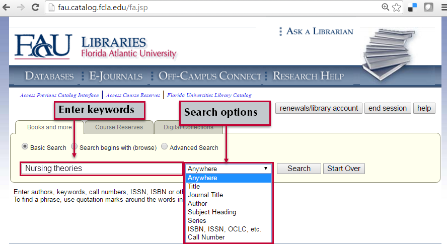 Basic search in library catalog.