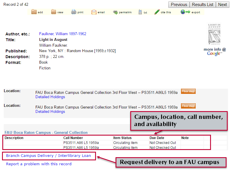 Full record view shows location, call number, availability, and options for delivery to an FAU campus.