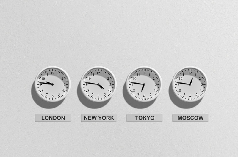 Photo of clocks showing times around the world