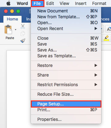 select file page setup