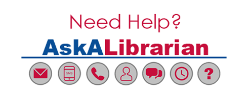 image text reads: need help? ask a librarian followed by icons depicting ways to contact the library.