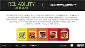 Reliability of sources tutorial screenshot