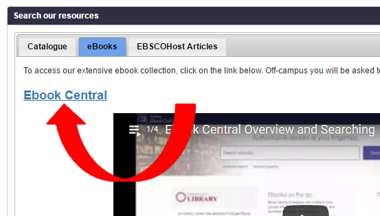 Click on the Ebook Central link to access ebooks
