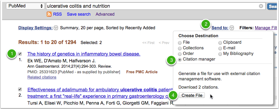 Steps 1-4 in PubMed