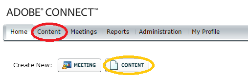 Adobe Connect add content buttons