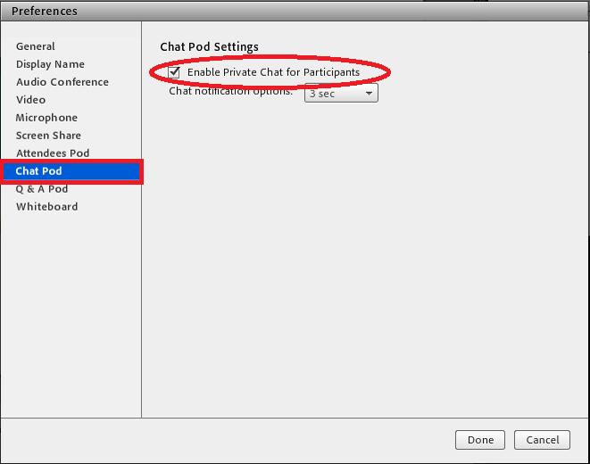 Chat Pod settings