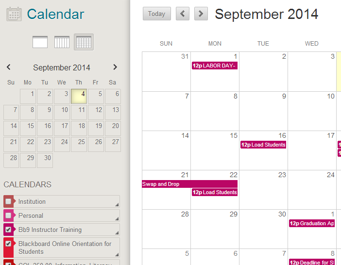 Select courses for calendar