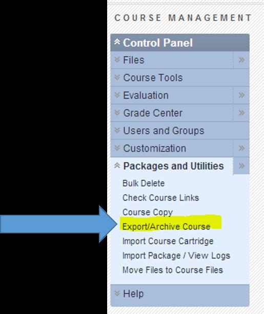 Course management menu