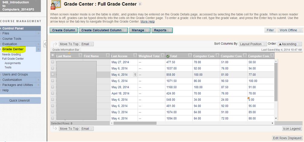 Grade Center