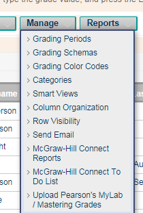 Manage gradebook menu